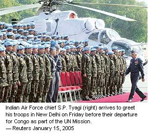 IAF Chief inspects IAF contingent to MONUC