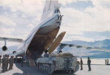 IAF IL-76MD and Army BMP-2 at Leh